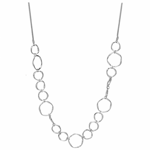 Bisoux Jewellery Long Silver Abstract Silver Circles Necklace